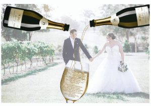 A custom wedding piece with 2 bottles of champagne and vows being poured into the one glass